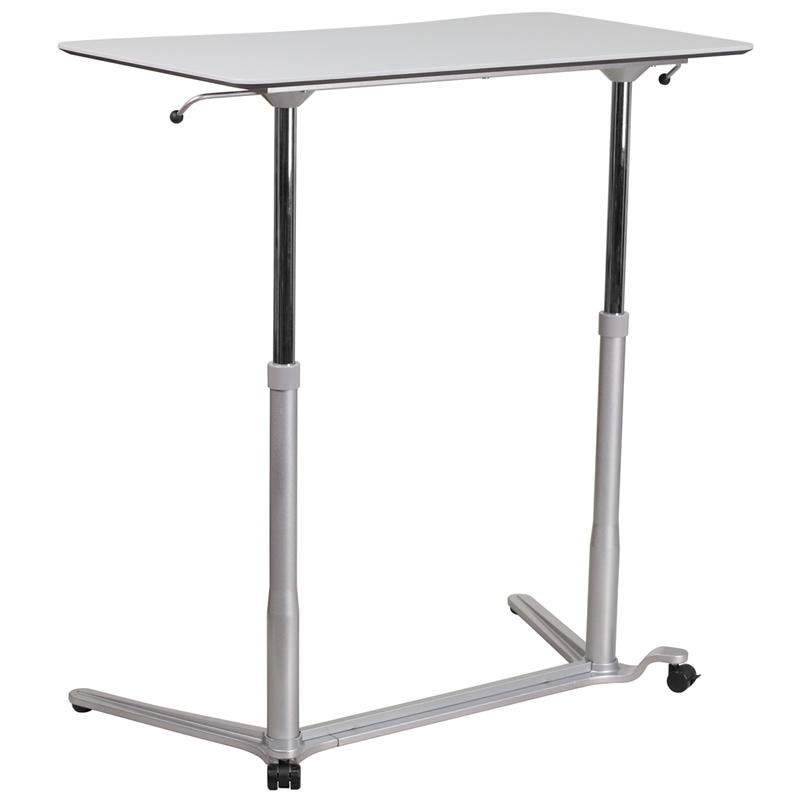 Sit-Down, Stand-Up Light Gray Computer Ergonomic Desk with 37.375''W Top (Adjustable Range 29'' - 40.75''). Picture 4