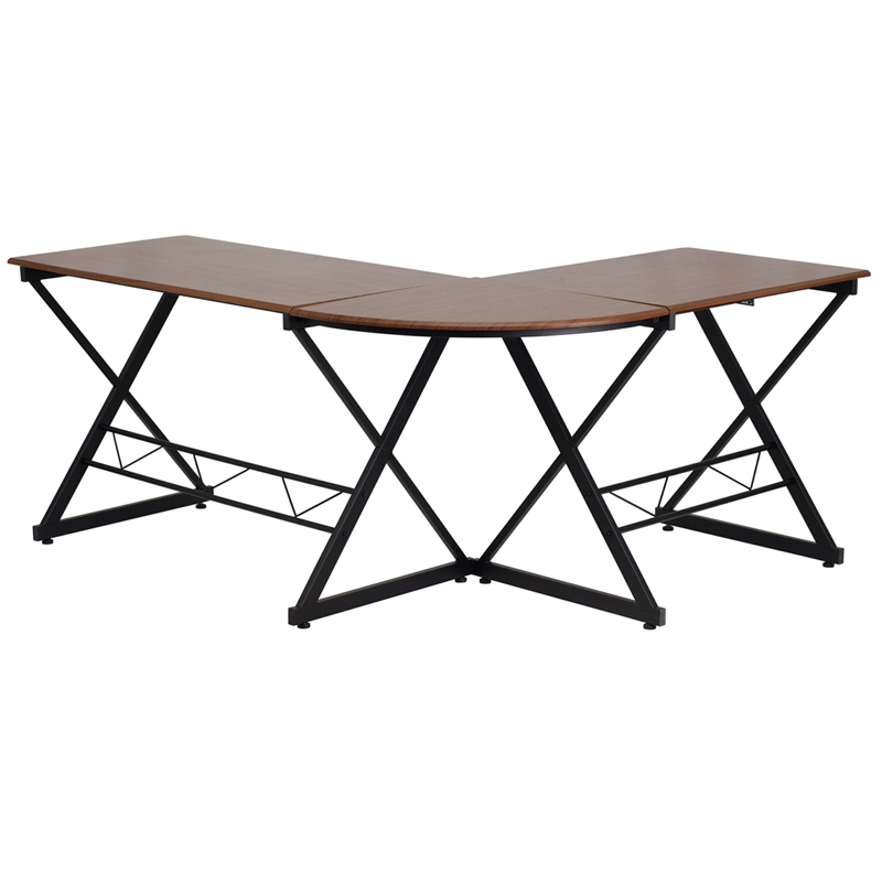 Flash Furniture Teakwood Laminate L-Shape Computer Desk with Pull-Out