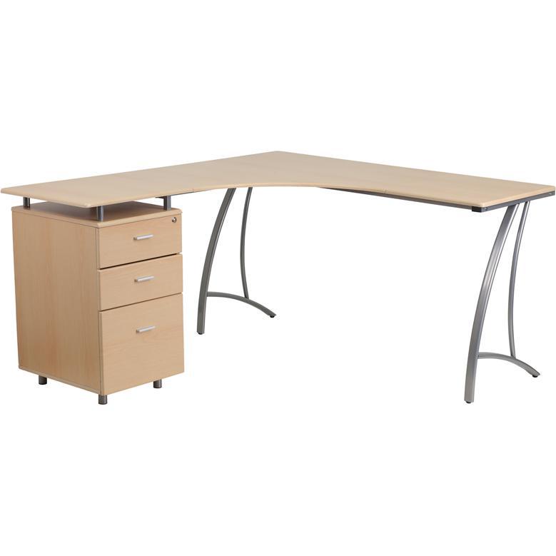 L Shape Desk With Three Drawer Pedestal