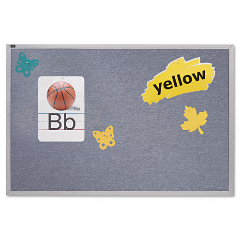 Vinyl Tack Bulletin Board, 96 x 48, Wedgewood Blue, Anodized Aluminum Frame. Picture 1