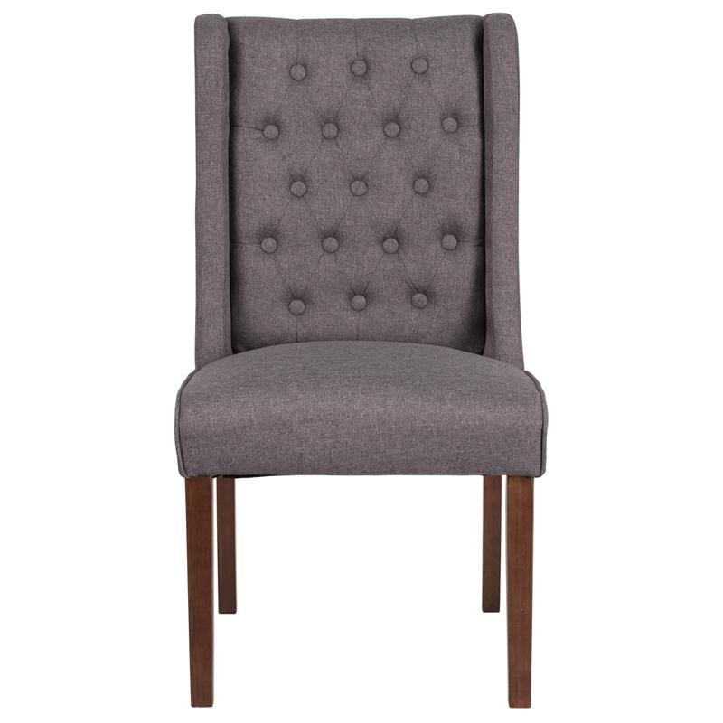 HERCULES Preston Series Gray Fabric Tufted Parsons Chair