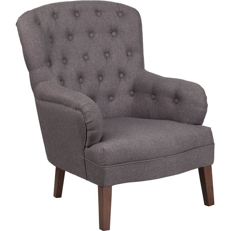 Hercules Arkley Series Gray Fabric Tufted Arm Chair