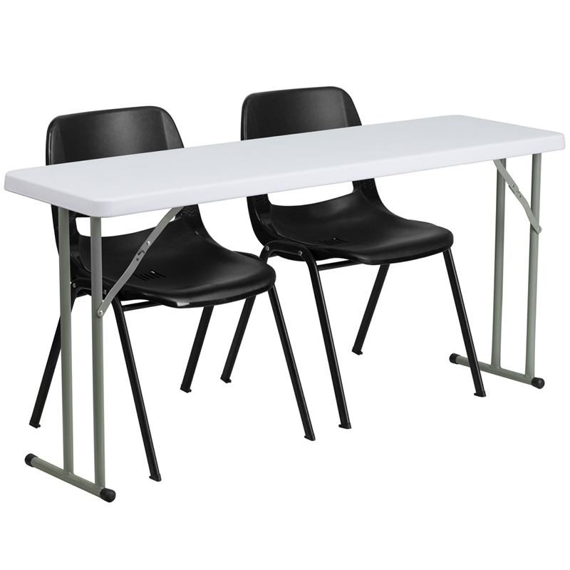 18\u0027\u0027 x 60\u0027\u0027 Plastic Folding Training Table Set with 2 Black Plastic Stack Chairs  sc 1 st  Bison Office : plastic chair table set - pezcame.com