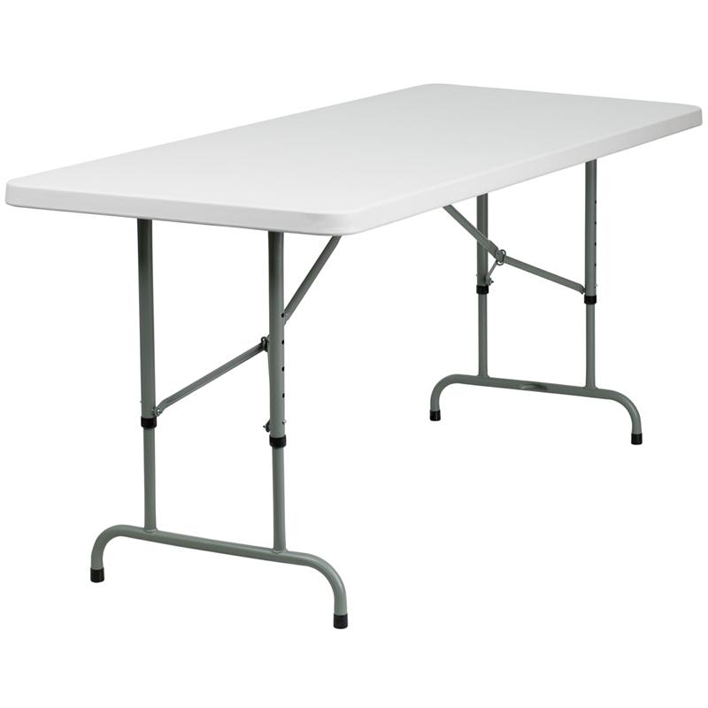 30 W X 72 L Height Adjustable Granite White Plastic