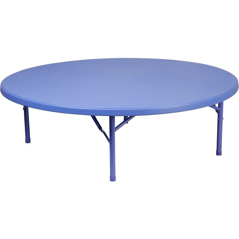 60 39 39 round kid 39 s blue plastic folding table. Black Bedroom Furniture Sets. Home Design Ideas