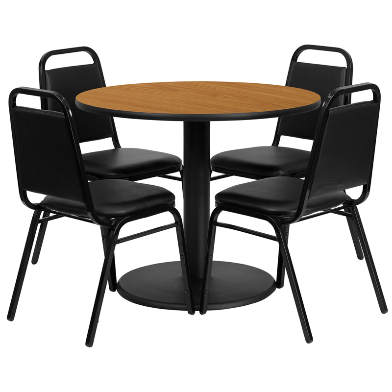 36u0027u0027 Round Natural Laminate Table Set with 4 Black Trapezoidal Back Banquet Chairs  sc 1 st  Bison Office & 36u0027u0027 Round Natural Laminate Table Set with 4 Black Trapezoidal Back ...