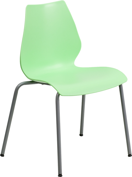 Wonderful HERCULES Series 770 Lb. Capacity Green Stack Chair With Lumbar Support And  Silver Frame