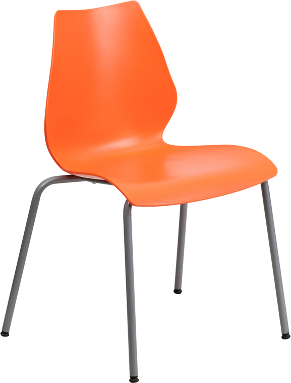 Beau Capacity Orange Stack Chair With Lumbar Support And Silver Frame