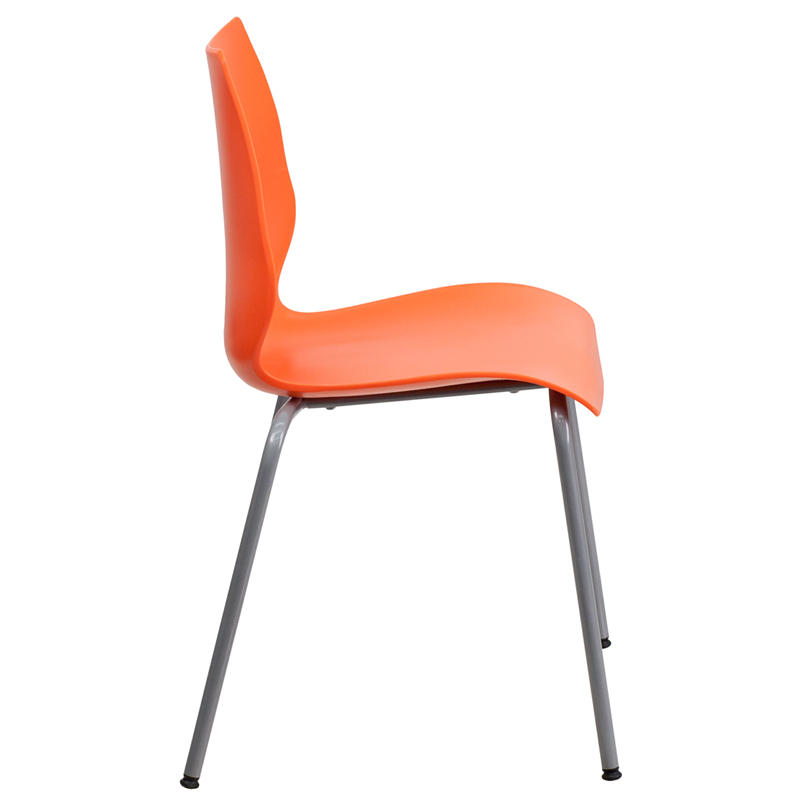 Capacity Orange Stack Chair With Lumbar Support And Silver Frame