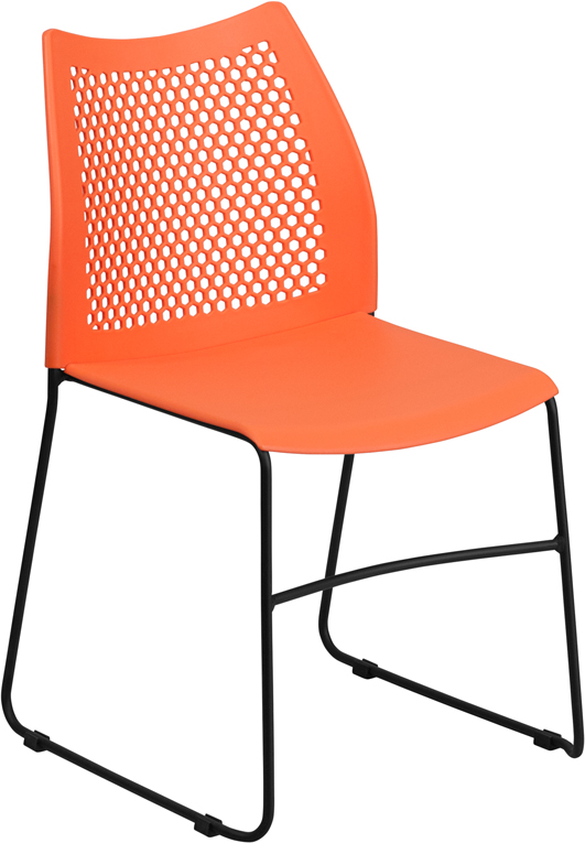 HERCULES Series 661 Lb. Capacity Orange Sled Base Stack Chair With Air Vent  Back