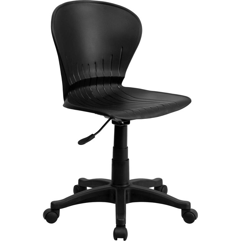 Mid-Back Black Plastic Swivel Task Office Chair. Picture 1