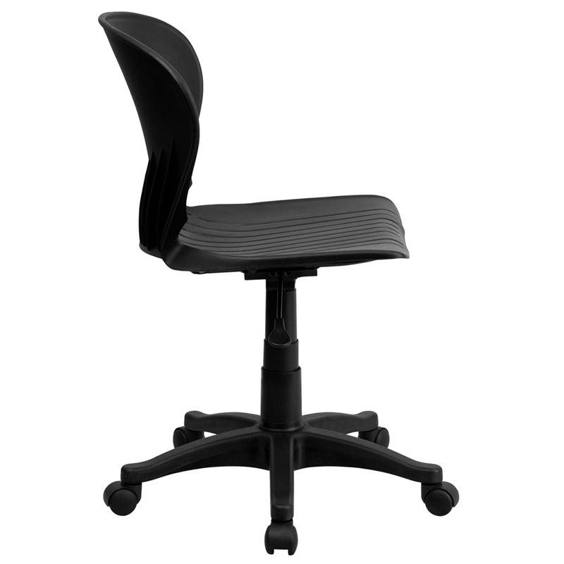 Mid-Back Black Plastic Swivel Task Office Chair. Picture 2