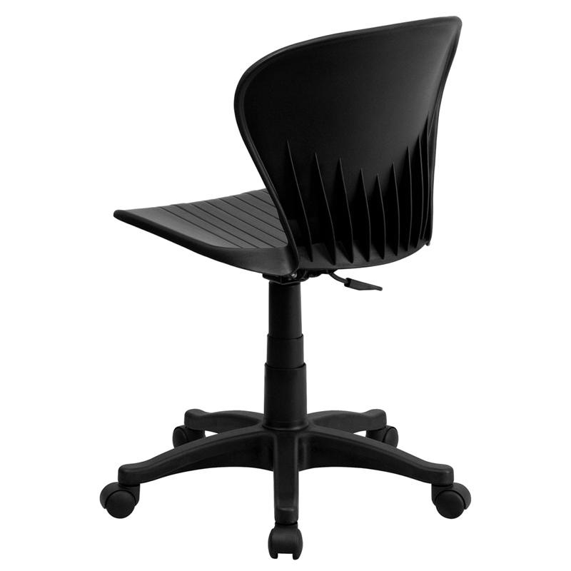 Mid-Back Black Plastic Swivel Task Office Chair. Picture 3