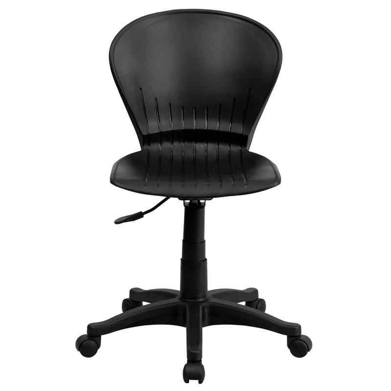 Mid-Back Black Plastic Swivel Task Office Chair. Picture 4