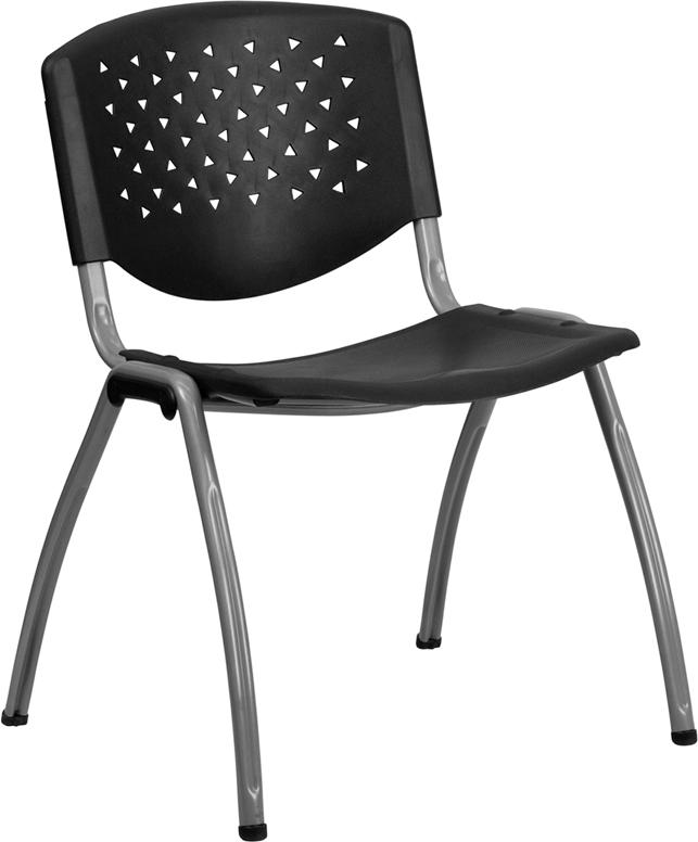 Hercules Series 880 Lb Capacity Black Plastic Stack Chair