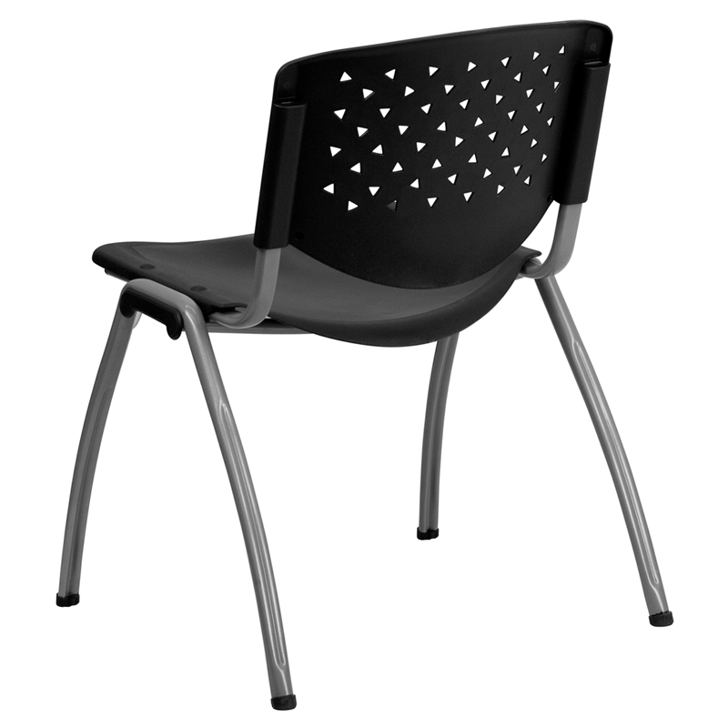 Capacity Black Plastic Stack Chair With Titanium Frame