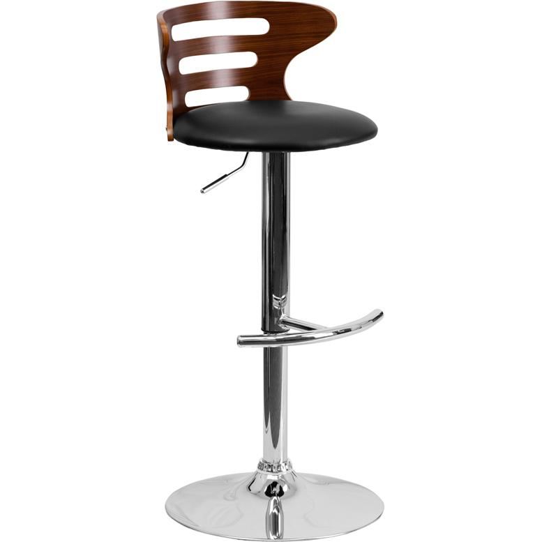 Walnut Bentwood Adjustable Height Barstool with Three Slot Cutout Back and Black Vinyl Seat. Picture 1