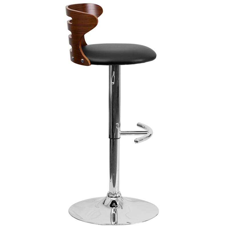 Walnut Bentwood Adjustable Height Barstool with Three Slot Cutout Back and Black Vinyl Seat. Picture 2