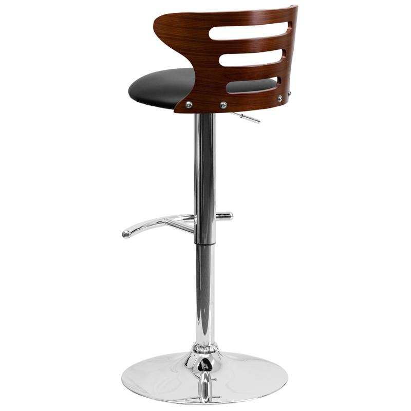 Walnut Bentwood Adjustable Height Barstool with Three Slot Cutout Back and Black Vinyl Seat. Picture 3