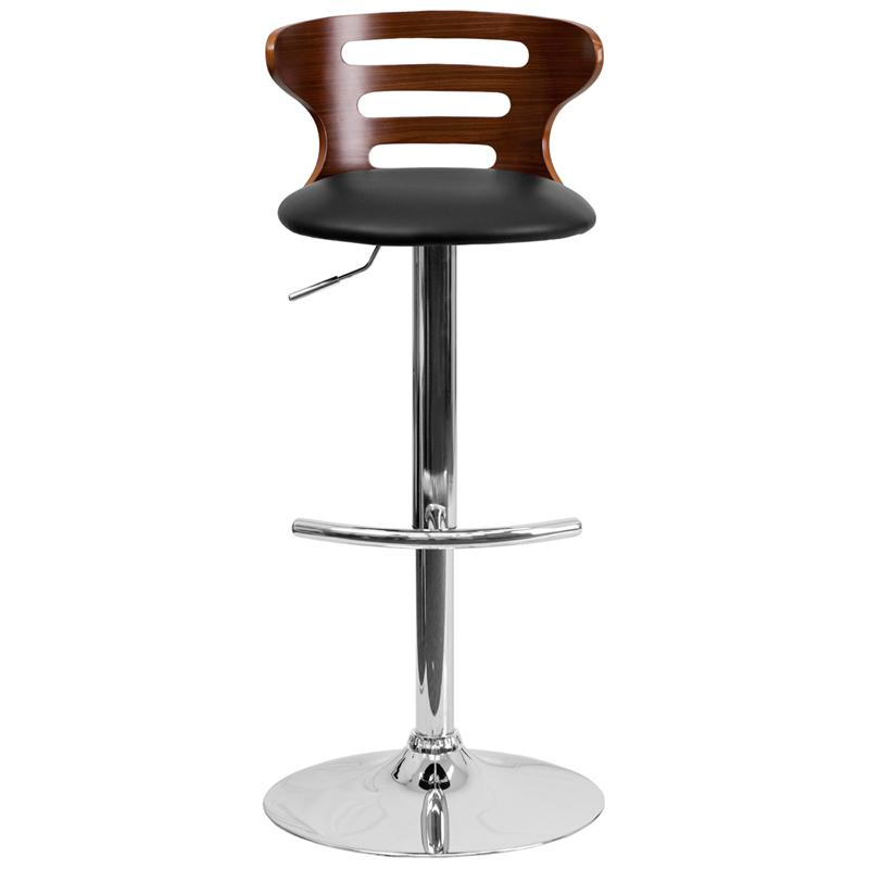 Walnut Bentwood Adjustable Height Barstool with Three Slot Cutout Back and Black Vinyl Seat. Picture 4