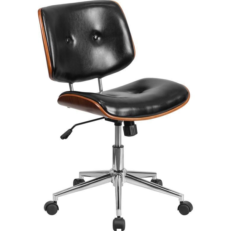 mid back black leather ergonomic wood swivel task chair. Black Bedroom Furniture Sets. Home Design Ideas