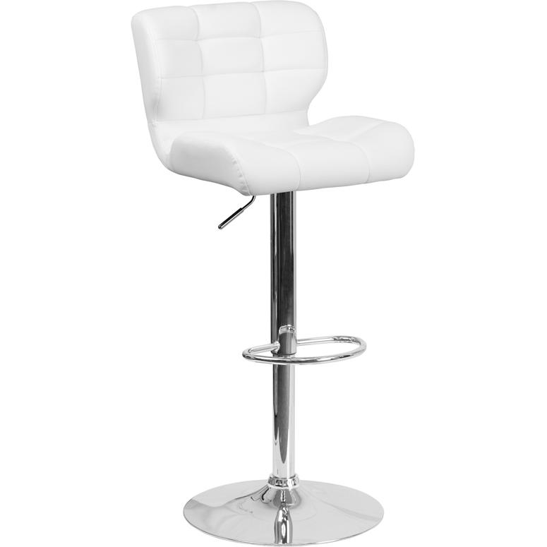 Contemporary Tufted White Vinyl Adjustable Height Barstool