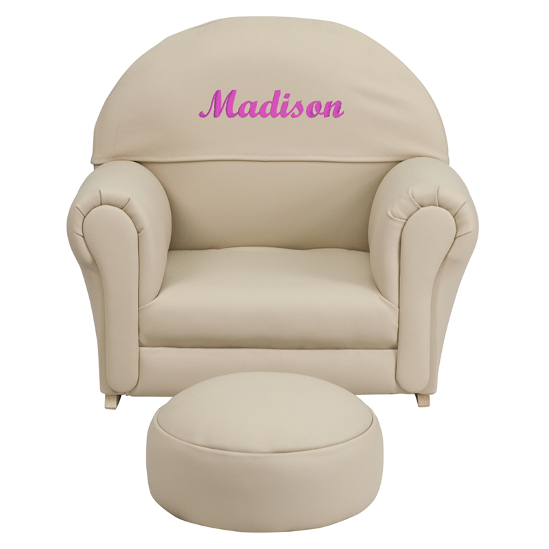 Personalized Kids Beige Vinyl Rocker Chair And Footrest