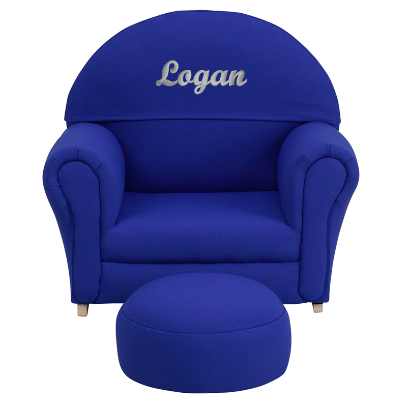 Personalized kids blue fabric rocker chair and footrest for Monogrammed kids chair