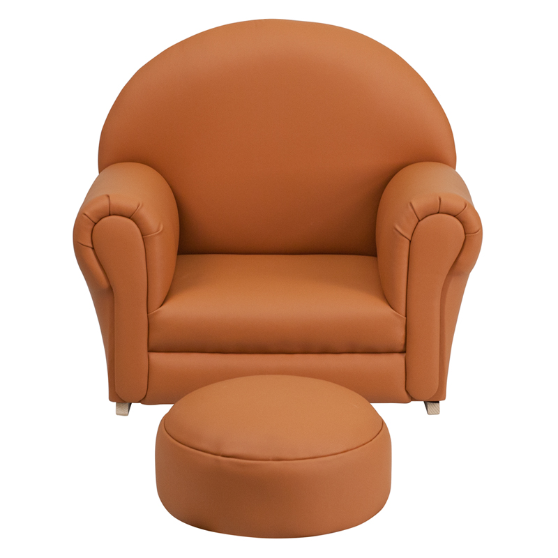 Kids Brown Vinyl Rocker Chair And Footrest