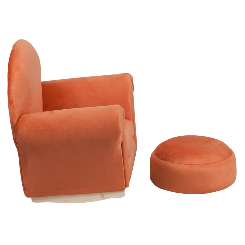 Kids orange microfiber rocker chair and footrest for Orange kids chair