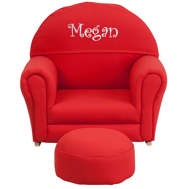 Personalized Kids Red Fabric Rocker Chair And Footrest