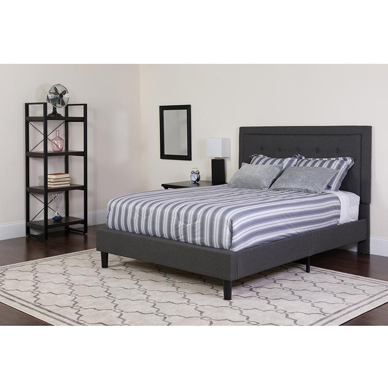 Roxbury King Size Tufted Upholstered Platform Bed In Dark Gray Fabric With Pocket Spring Mattress