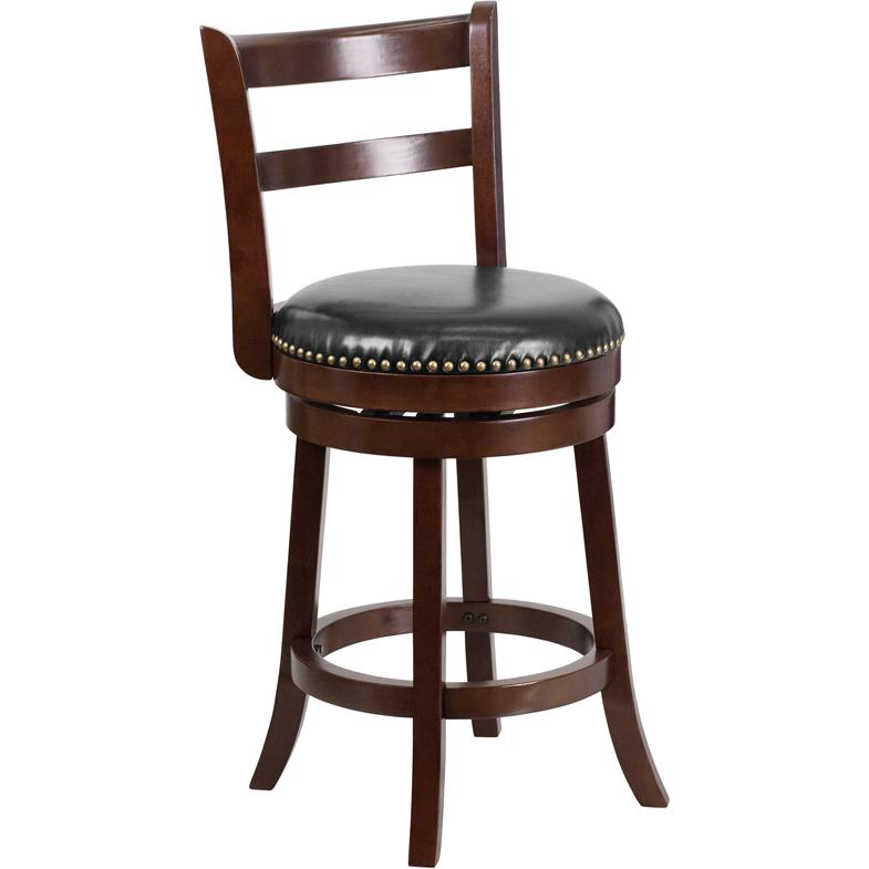 26'' High Cappuccino Wood Counter Height Stool with Single Slat Ladder Back and Black LeatherSoft Swivel Seat. Picture 1