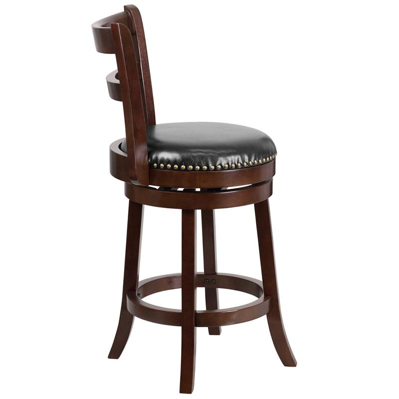 26'' High Cappuccino Wood Counter Height Stool with Single Slat Ladder Back and Black LeatherSoft Swivel Seat. Picture 2