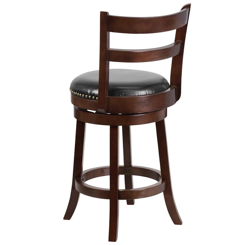 26'' High Cappuccino Wood Counter Height Stool with Single Slat Ladder Back and Black LeatherSoft Swivel Seat. Picture 3