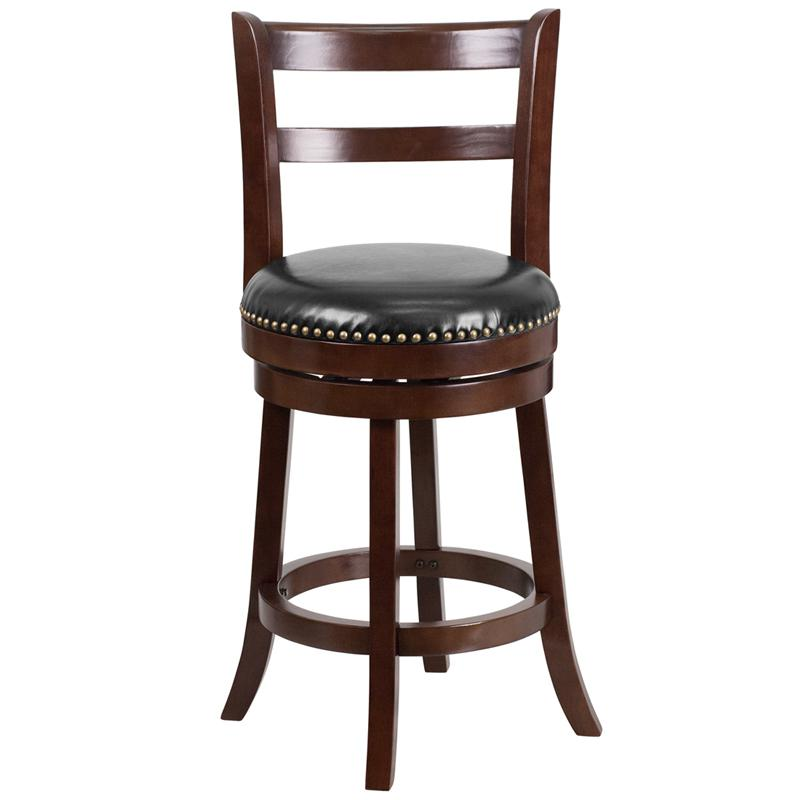 26'' High Cappuccino Wood Counter Height Stool with Single Slat Ladder Back and Black LeatherSoft Swivel Seat. Picture 4