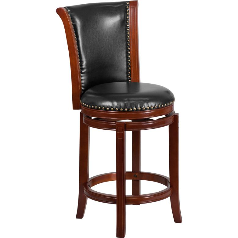 26'' High Dark Chestnut Wood Counter Height Stool with Panel Back and Black LeatherSoft Swivel Seat. Picture 1