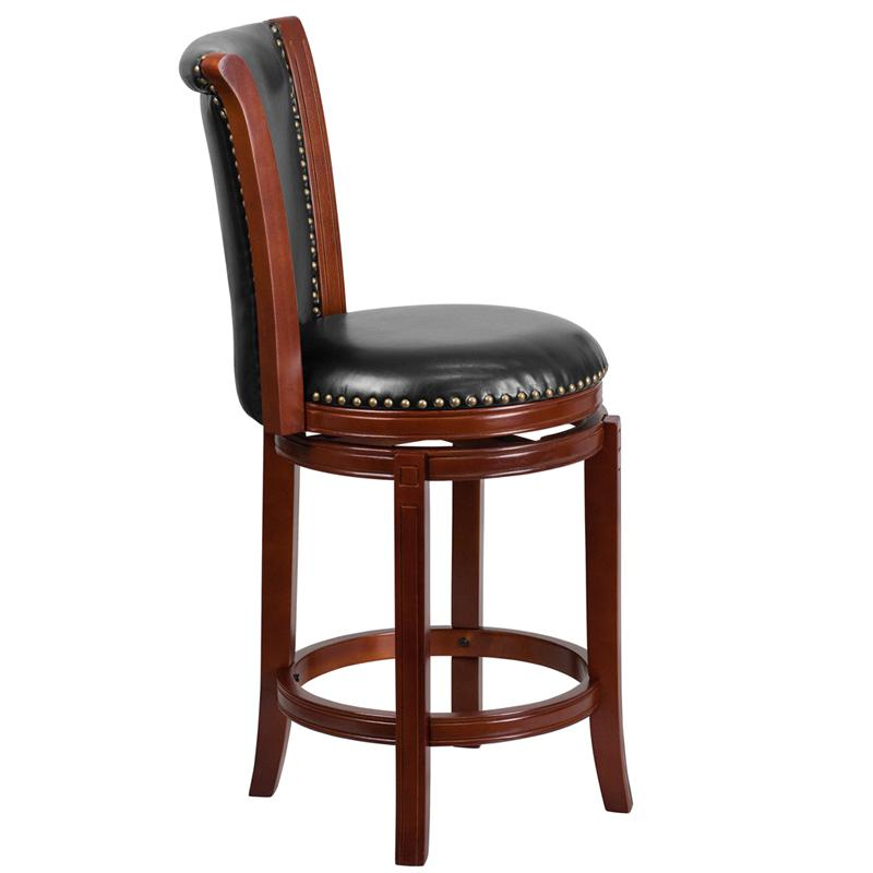 26'' High Dark Chestnut Wood Counter Height Stool with Panel Back and Black LeatherSoft Swivel Seat. Picture 2