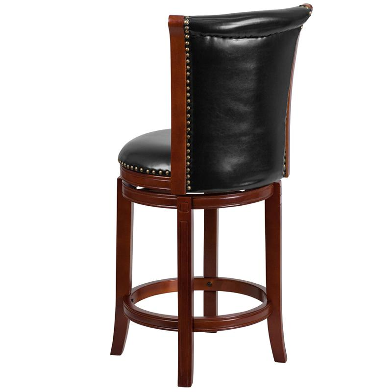 26'' High Dark Chestnut Wood Counter Height Stool with Panel Back and Black LeatherSoft Swivel Seat. Picture 3