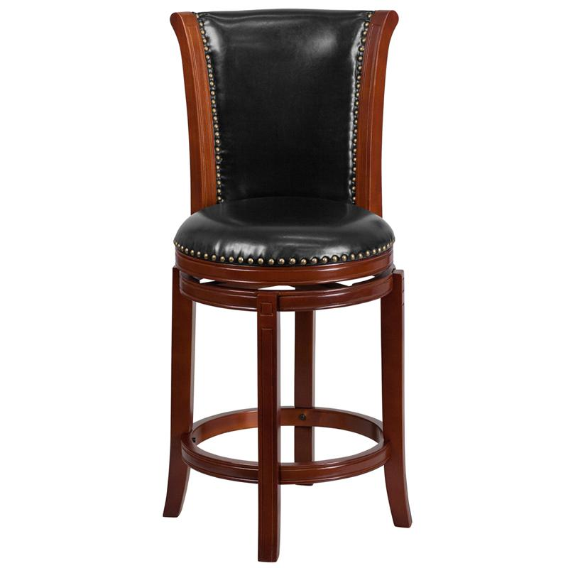26'' High Dark Chestnut Wood Counter Height Stool with Panel Back and Black LeatherSoft Swivel Seat. Picture 4