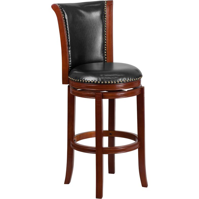 30 High Dark Chestnut Wood Barstool With Black Leather