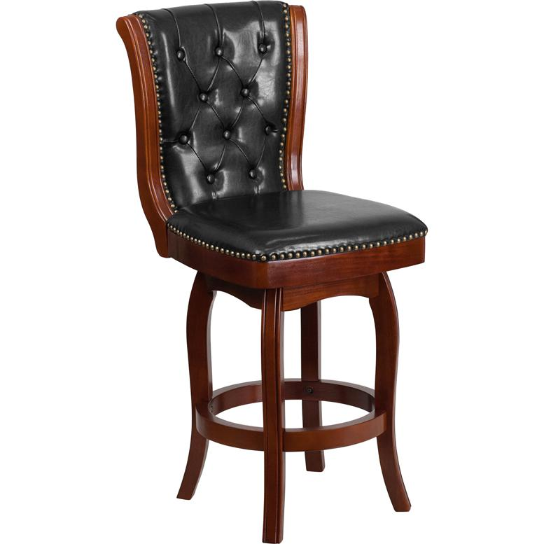 26'' High Cherry Wood Counter Height Stool with Button Tufted Back and Black LeatherSoft Swivel Seat. Picture 1