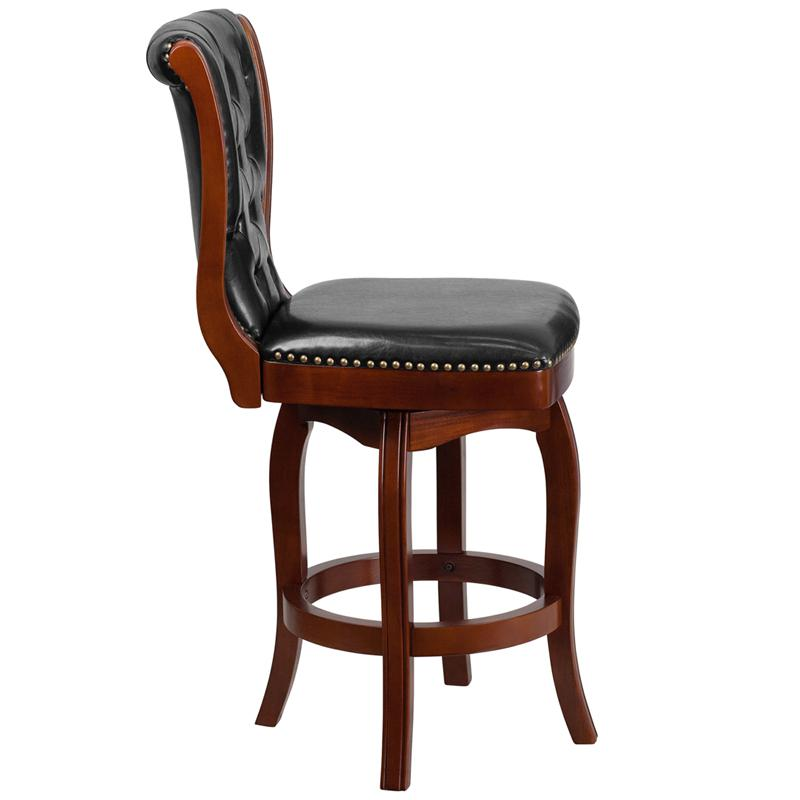 26'' High Cherry Wood Counter Height Stool with Button Tufted Back and Black LeatherSoft Swivel Seat. Picture 2