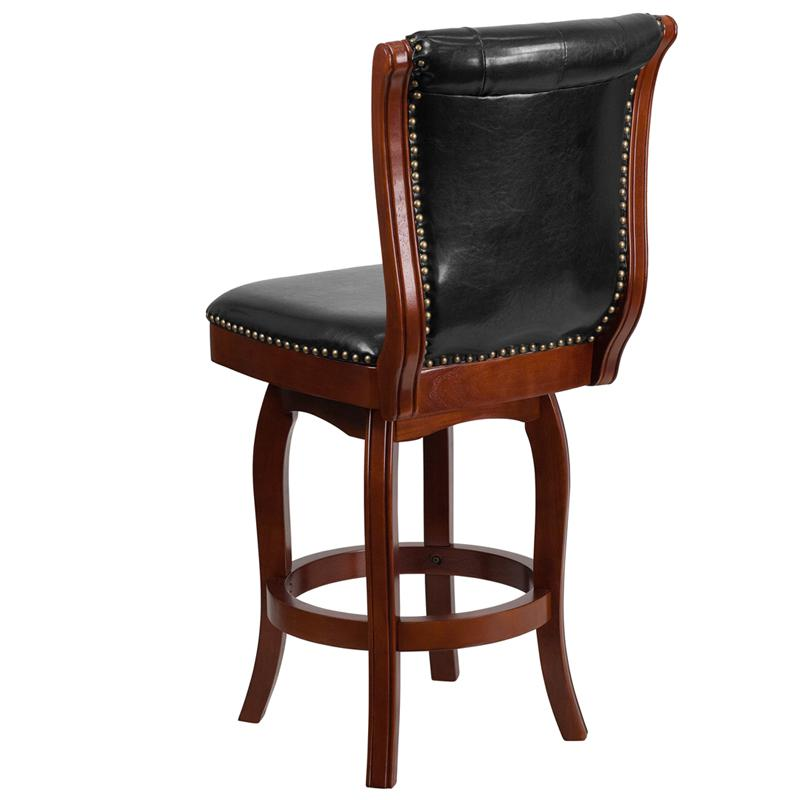 26'' High Cherry Wood Counter Height Stool with Button Tufted Back and Black LeatherSoft Swivel Seat. Picture 3