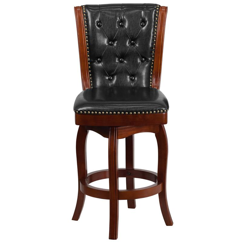 26'' High Cherry Wood Counter Height Stool with Button Tufted Back and Black LeatherSoft Swivel Seat. Picture 4
