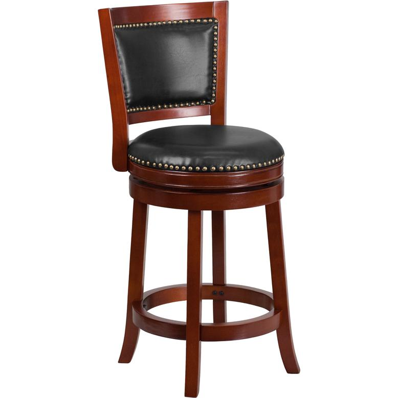 26 39 39 high dark cherry wood counter height stool with walnut leather swivel seat. Black Bedroom Furniture Sets. Home Design Ideas
