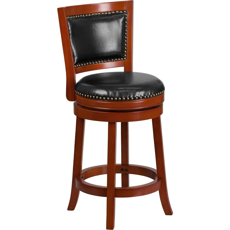 26 High Light Cherry Wood Counter Height Stool With