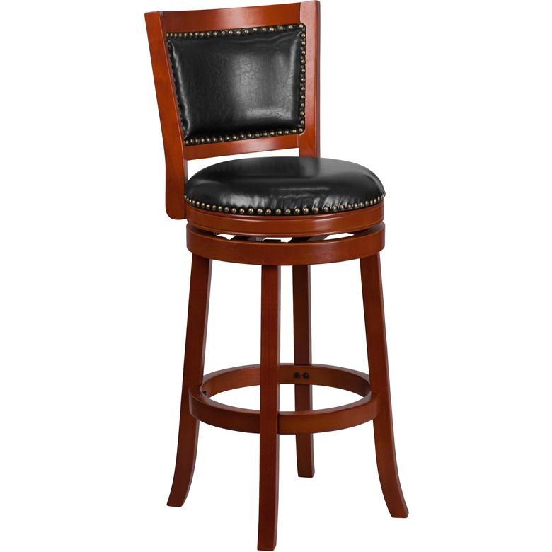 30'' High Light Cherry Wood Barstool with Open Panel Back and Black LeatherSoft Swivel Seat. Picture 1