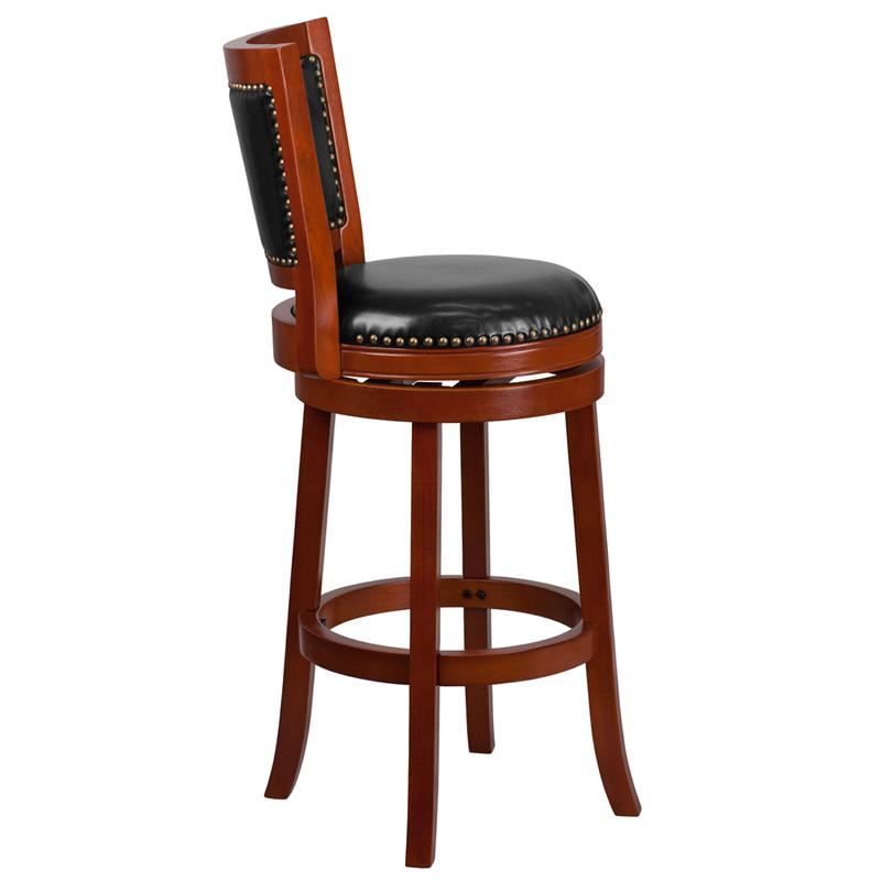 30'' High Light Cherry Wood Barstool with Open Panel Back and Black LeatherSoft Swivel Seat. Picture 2