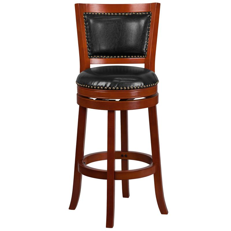 30'' High Light Cherry Wood Barstool with Open Panel Back and Black LeatherSoft Swivel Seat. Picture 4